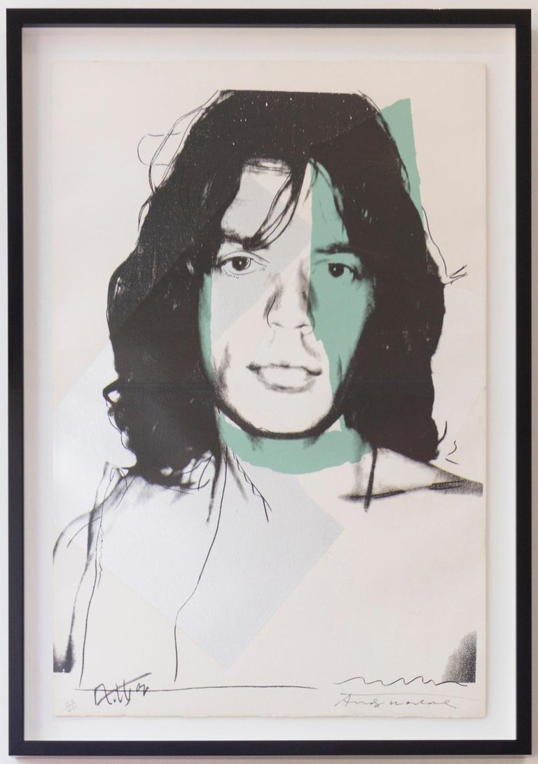 Andy Warhol created his Mick Jagger portfolio while Warhol was at the height of fame in 1975. As a part of the Glitterati, Warhol spent a great deal of time with Jagger and his wife Bianca. Warhol and Jagger became close friends who respected each