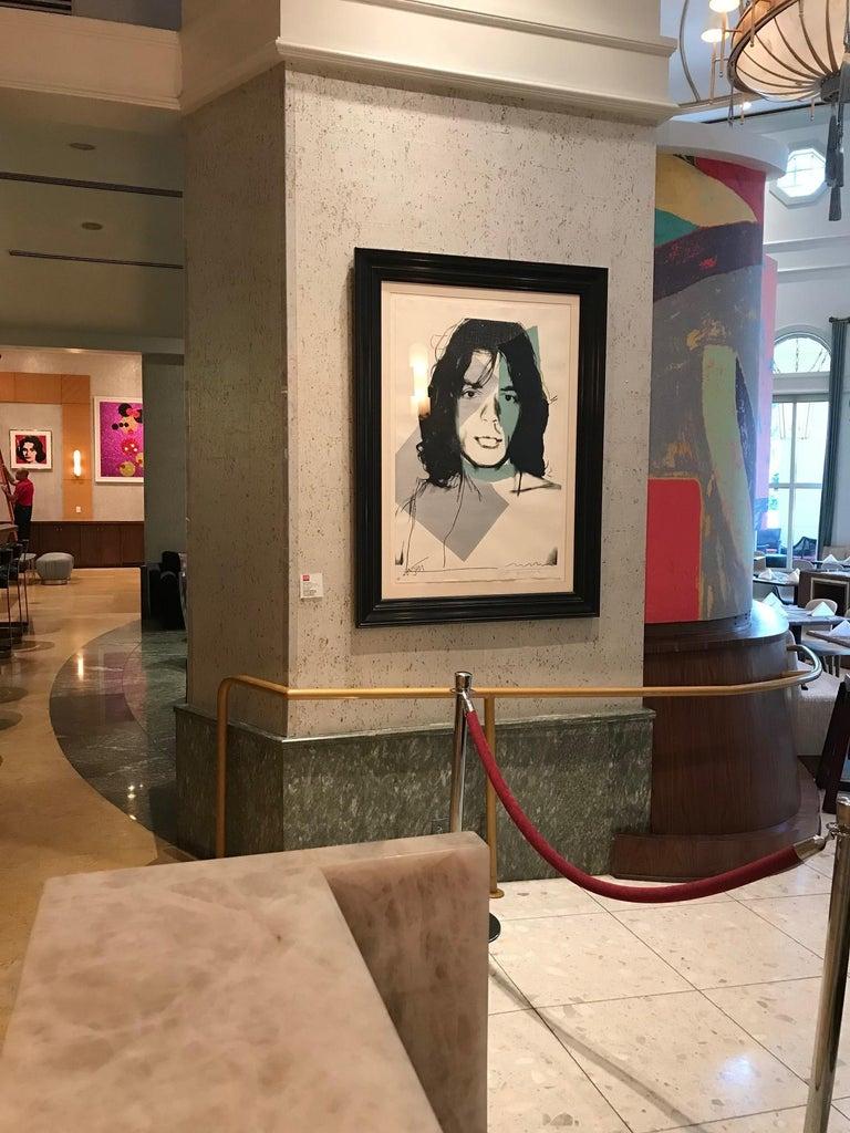 Hand signed by both Andy Warhol and Mick Jagger. Numbered limited edition screenprint. Printer: Alexander Heinrici, New York. Publisher: Seabird Editions, London, England. Feldman/Schellmann Catalogue Raisonne II.138.