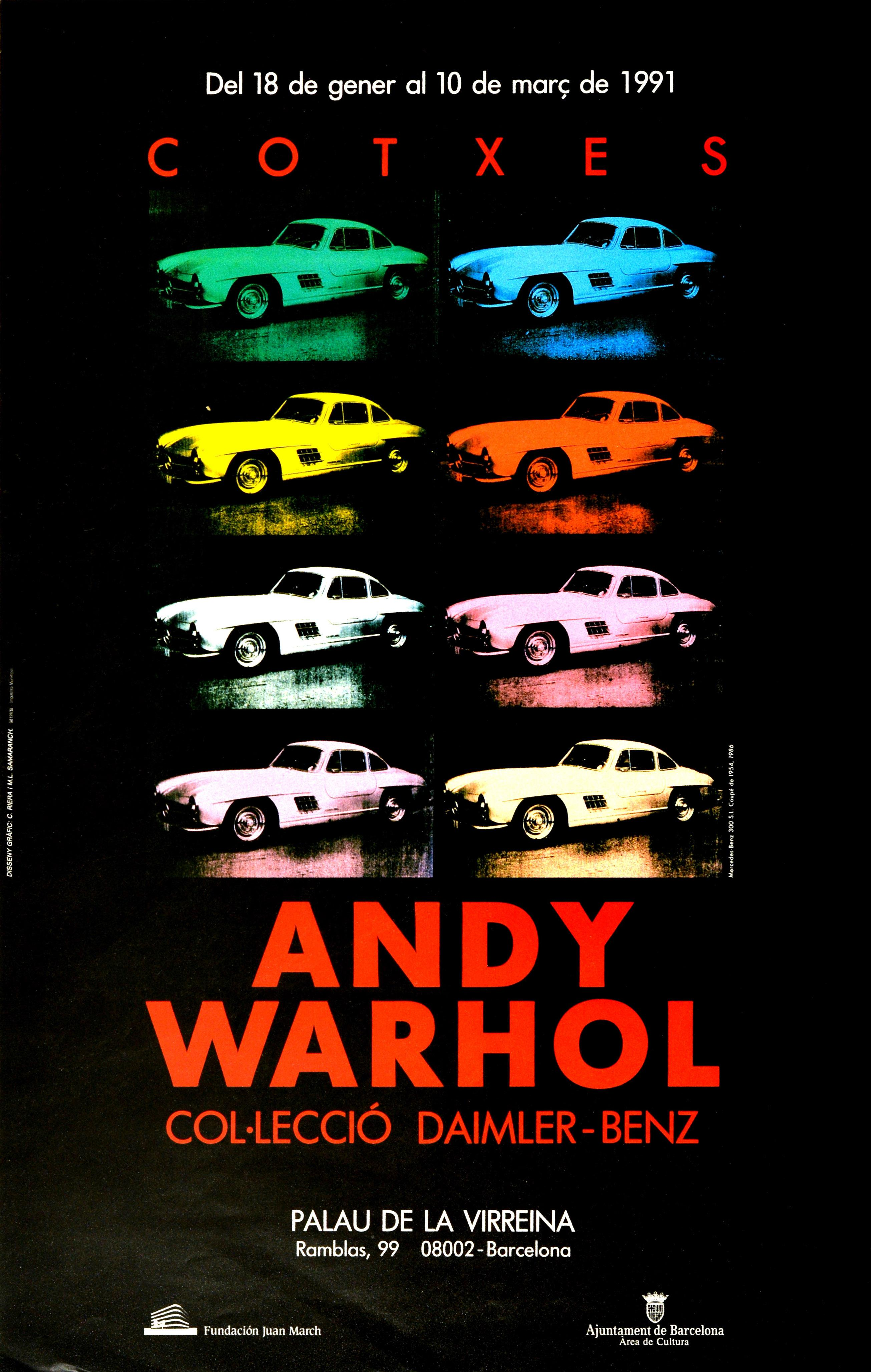 Original Vintage Poster Andy Warhol Cars Exhibition Daimler Benz Pop Art Design