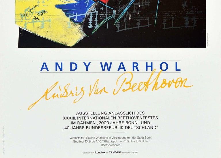 Original Vintage Poster Andy Warhol Ludwig Van Beethoven Festival Art Exhibition - Beige Print by Andy Warhol