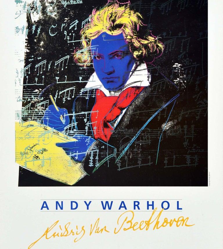 Original vintage art exhibition advertising poster - Andy Warhol Ludwig Van Beethoven Ausstellung Anlasslich des XXXIII Internationalen Beethovenfestes im Rahmen 2000 Jahre Bonn und 40 Jahre Bundesrepublik Deutschland / Andy Warhol Ludwig Van