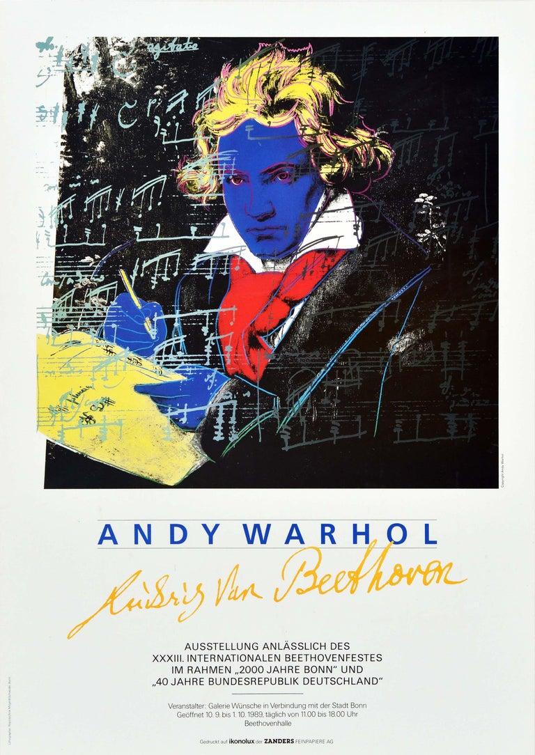 Original Vintage Poster Andy Warhol Ludwig Van Beethoven Festival Art Exhibition - Print by Andy Warhol