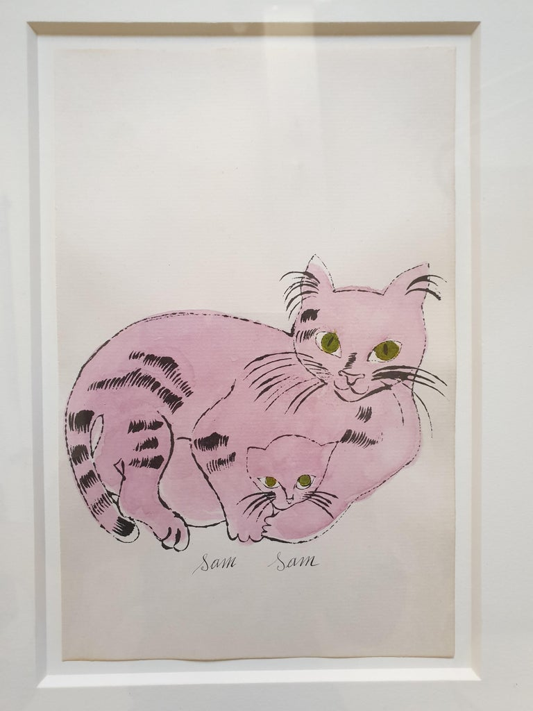 Pink 'Sam Sam' from 25 Cats... Hand-Coloured lithograph with signed frontispiece - Print by Andy Warhol