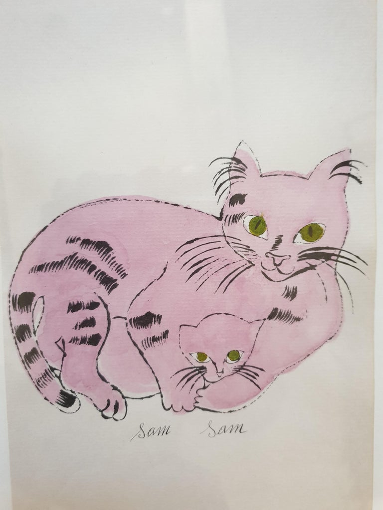 Pink 'Sam Sam' from 25 Cats... Hand-Coloured lithograph with signed frontispiece - Pop Art Print by Andy Warhol