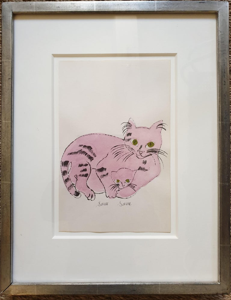 Andy Warhol Animal Print - Pink 'Sam Sam' from 25 Cats... Hand-Coloured lithograph with signed frontispiece
