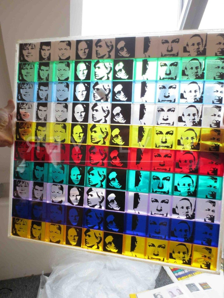 Andy Warhol was chosen to create portraits of 12 of Leo Castelli's artists, many of whom were Warhol's friends. Sticking with Warhol's signature style of repetition, he multiplied the artists' portraits ten times in ten different colors on 3-D