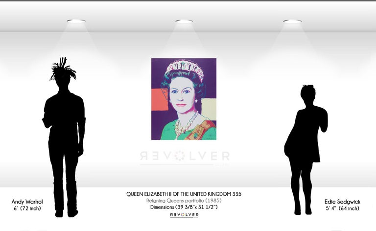 QUEEN ELIZABETH II 335 Queen Elizabeth II 335 by Andy Warhol is part of the Reigning Queens series produced by Warhol in 1985. The portfolio consists of sixteen screenprints. Warhol depicts these four female monarchs in their own right, rather than