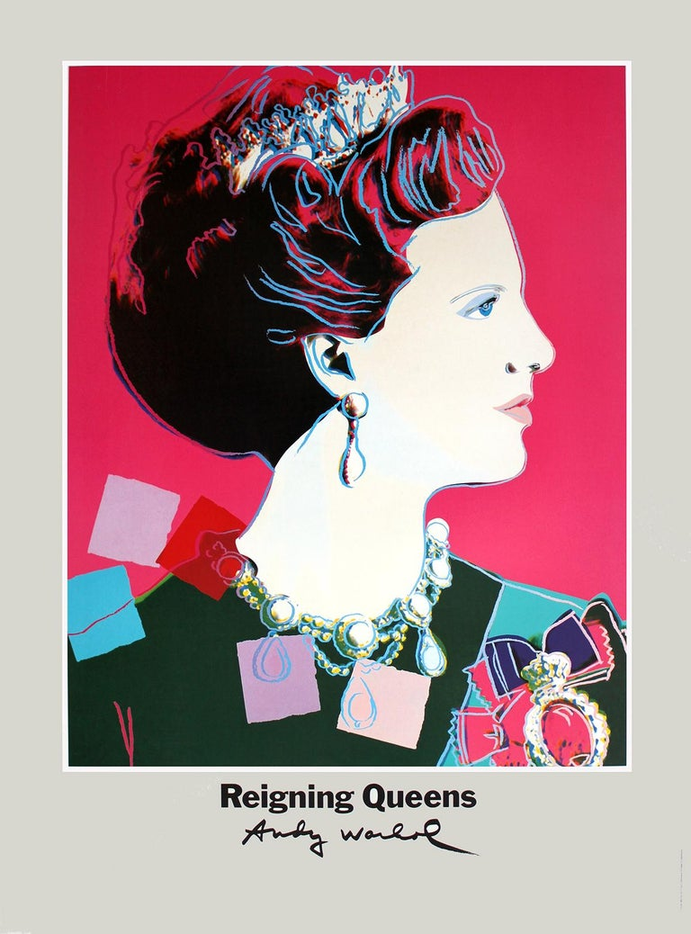 (after) Andy Warhol Portrait Print - Queen Margrethe II of Denmark, Poster