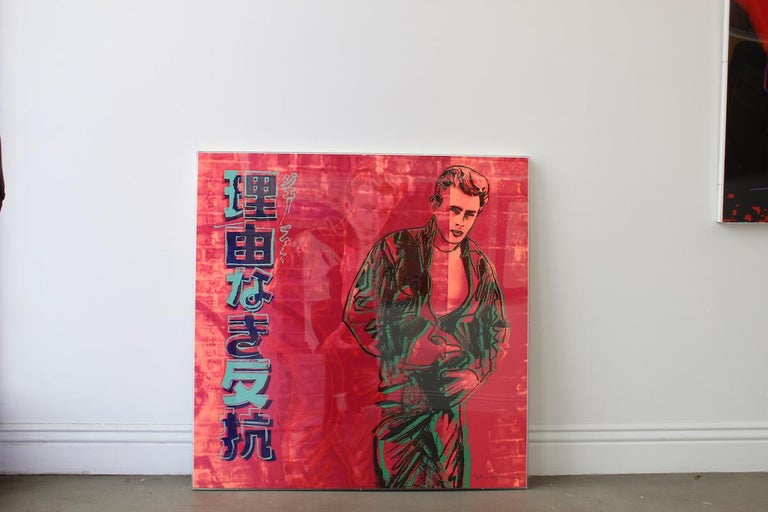 REBEL WITHOUT A CAUSE 355  Rebel Without a Cause 355 is a part of Andy Warhol's 1985 Ads portfolio. This series features ten screenprints based on massively successful corporate advertisements. The print, which features Hollywood actor, James Dean,