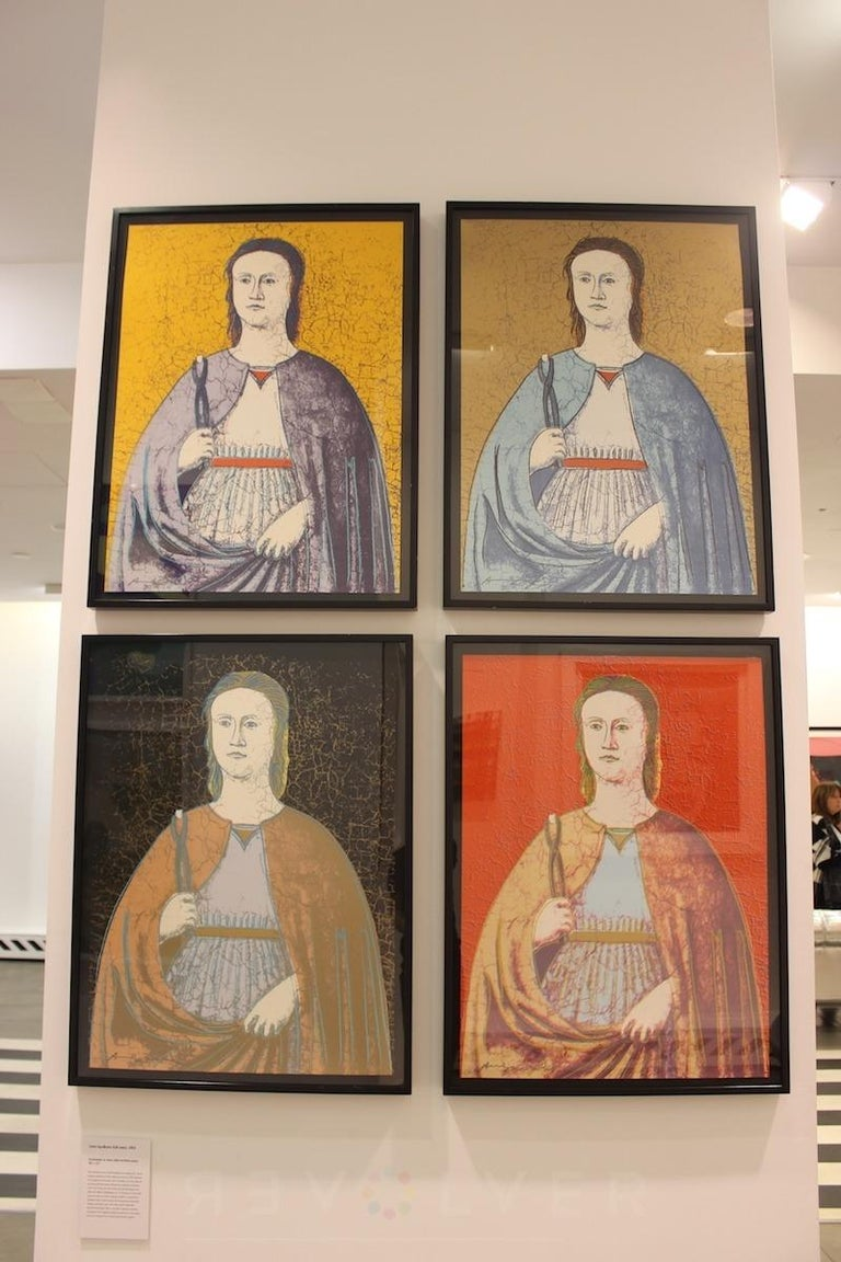 The screenprint of Saint Apollonia is inspired by a panel painting attributed to the workshop of Piero della Francesca (c.1470). Apollonia is recognized as the patron saint of dentistry as it was believed that her teeth were broken with pincers