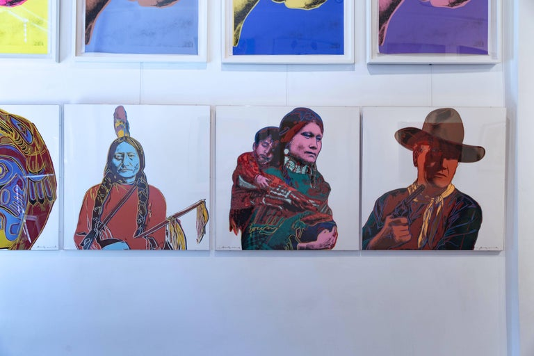 Andy Warhol's Sitting Bull is a unique screenprint associated with his Cowboys and Indians portfolio. Created in the 1980s, Sitting Bull is based on an archival photo of the Sioux Chief. Sitting Bulls stands out against the stark off-white