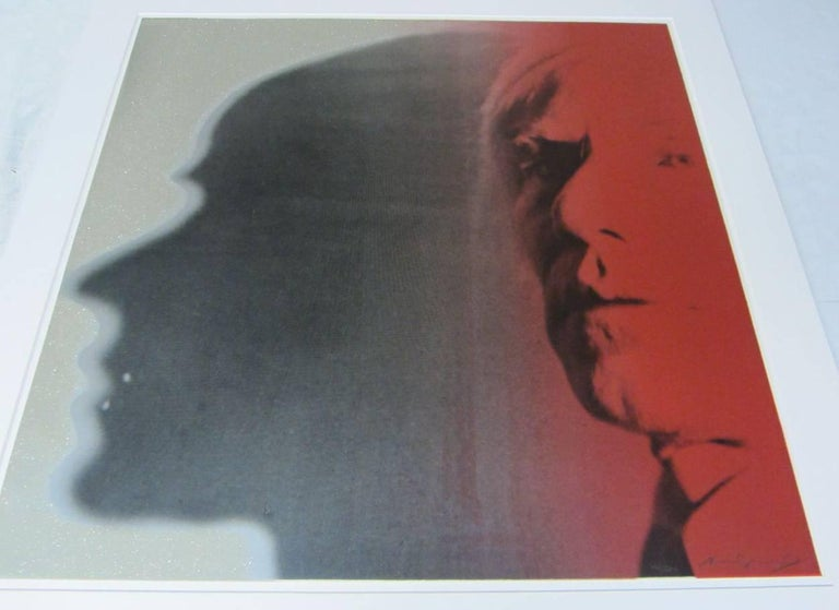 Andy Warhol created The Shadow 267 as part of his 1981 Myths series. Drawing from Pop Culture, Warhol portrayed a popular radio crime fighter from the 1930s. There is not an image associated with the radio character, Warhol lent his face and shadow