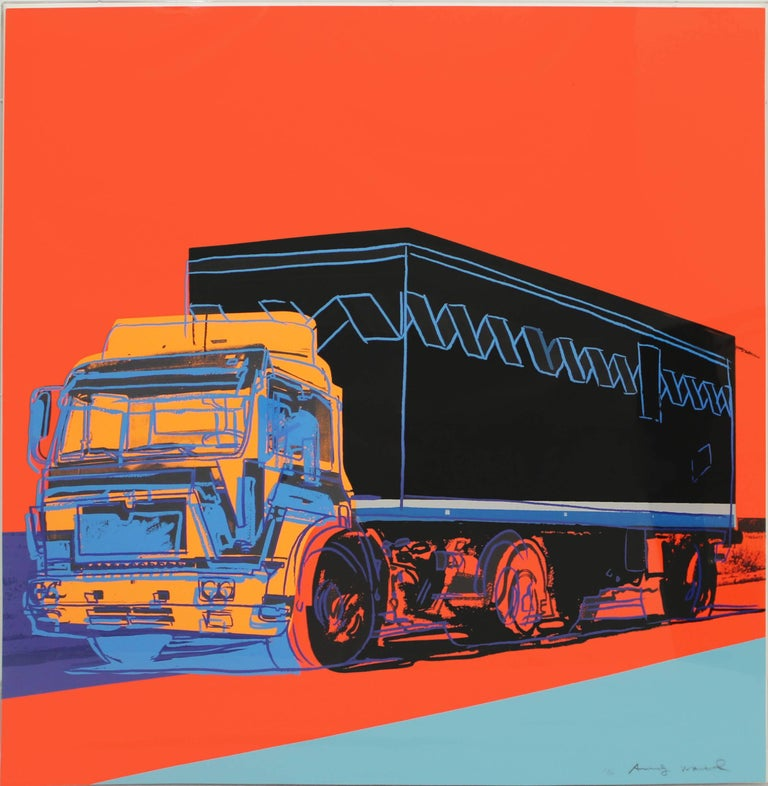 Andy Warhol created his Truck portfolio if 1985. The portfolio consists of four variations of a Truck printed in vibrant colors. True to his pop art style, Warhol printed the truck on a solid colored background, with bold outlines to create the