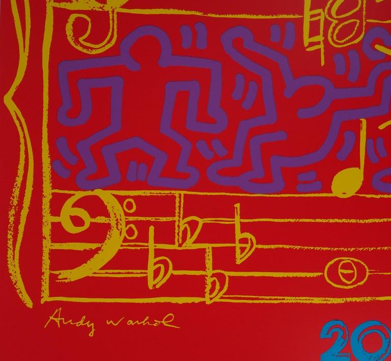 WARHOL & HARING - Jazz, Dancing on Music Sheet - Screenprint Poster, Montreux - Print by Andy Warhol