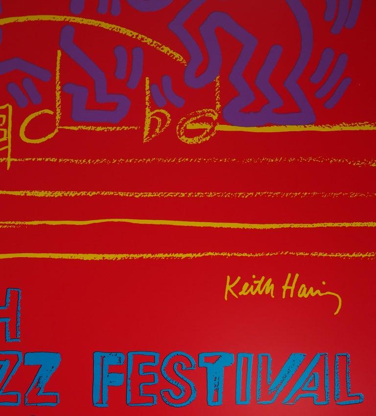 WARHOL & HARING - Jazz, Dancing on Music Sheet - Screenprint Poster, Montreux - American Modern Print by Andy Warhol