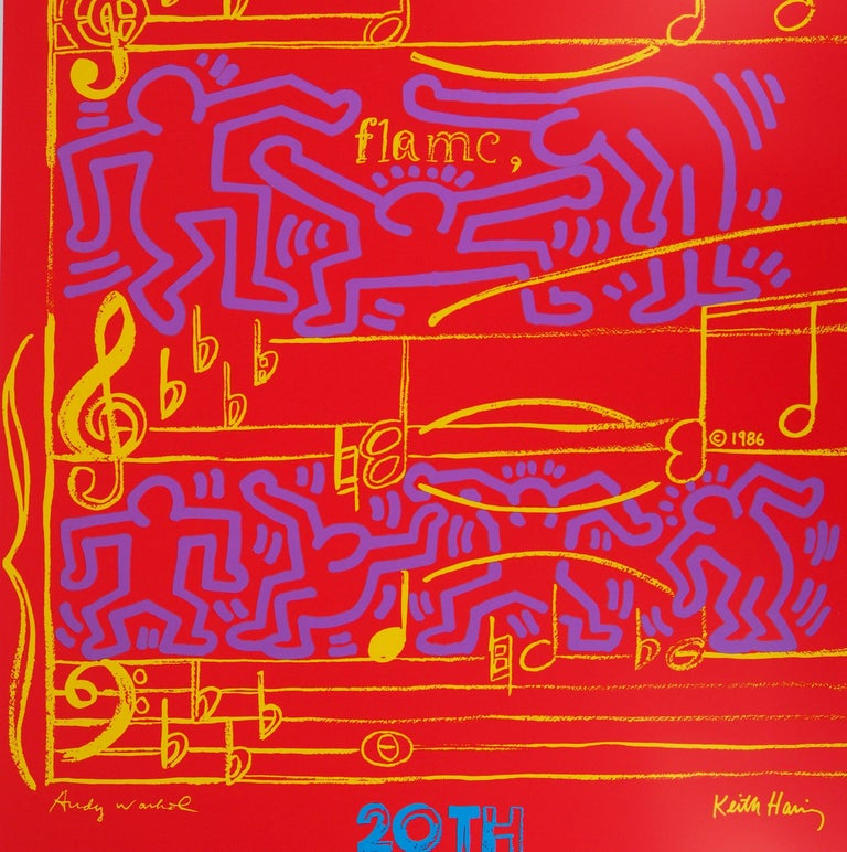 WARHOL & HARING - Jazz, Dancing on Music Sheet - Screenprint Poster, Montreux - Red Figurative Print by Andy Warhol