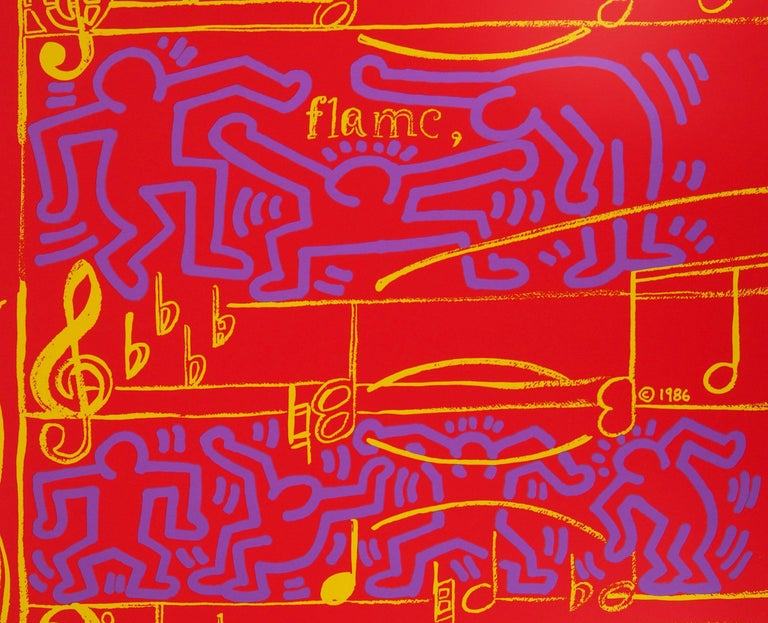 Andy WARHOL and Keith HARING Jazz, Dancing on Music Sheet, 1986  Screenprint Printed signature in the plate On heavy paper 100 x 70 cm (c. 40 x 28 in) Created by Haring for the Montreux Jazz Festival - vintage edition  Excellent condition