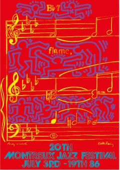 WARHOL & HARING - Jazz, Dancing on Music Sheet - Screenprint Poster, Montreux