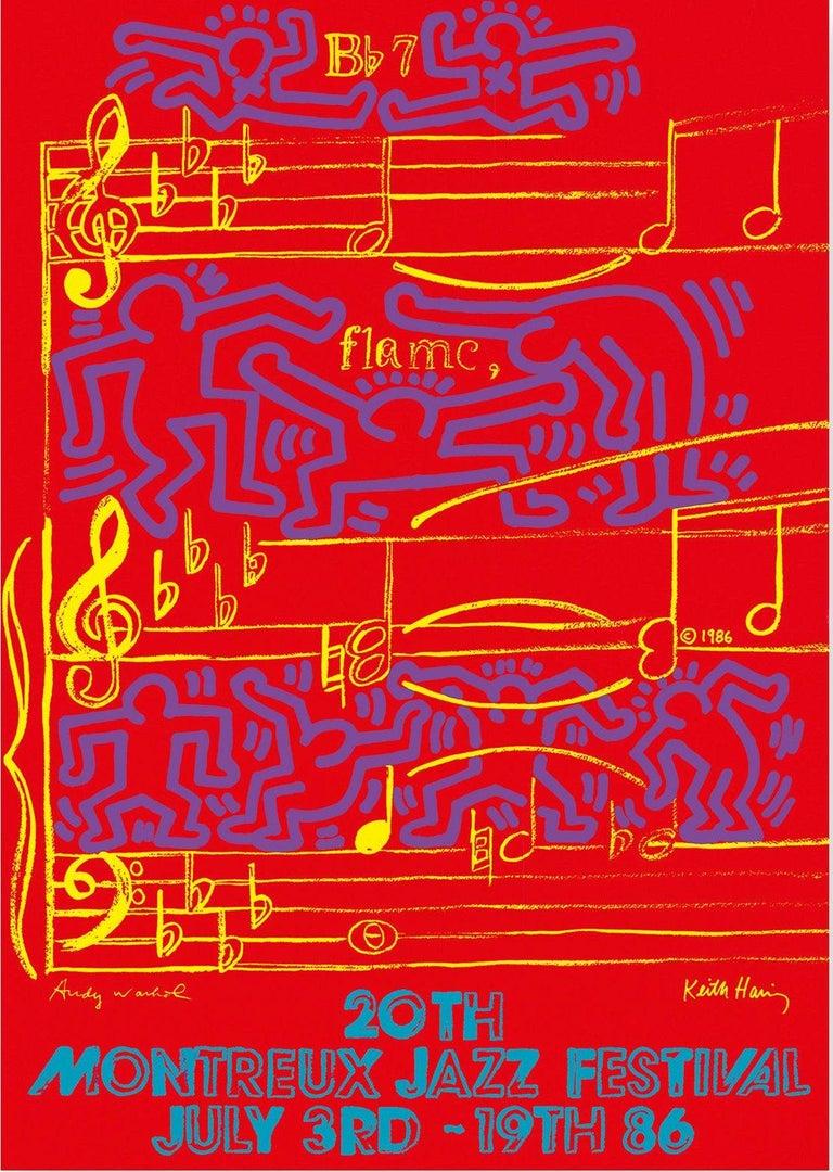 Andy Warhol Figurative Print - WARHOL & HARING - Jazz, Dancing on Music Sheet - Screenprint Poster, Montreux