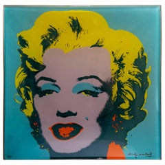 Andy Warhol Square Glass Plate with Marilyn Monroe Icon for Rosenthal Studi