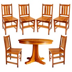 Andy Warhol's 6 Stickley Chairs from the Factory and Contemporary Stickley Table