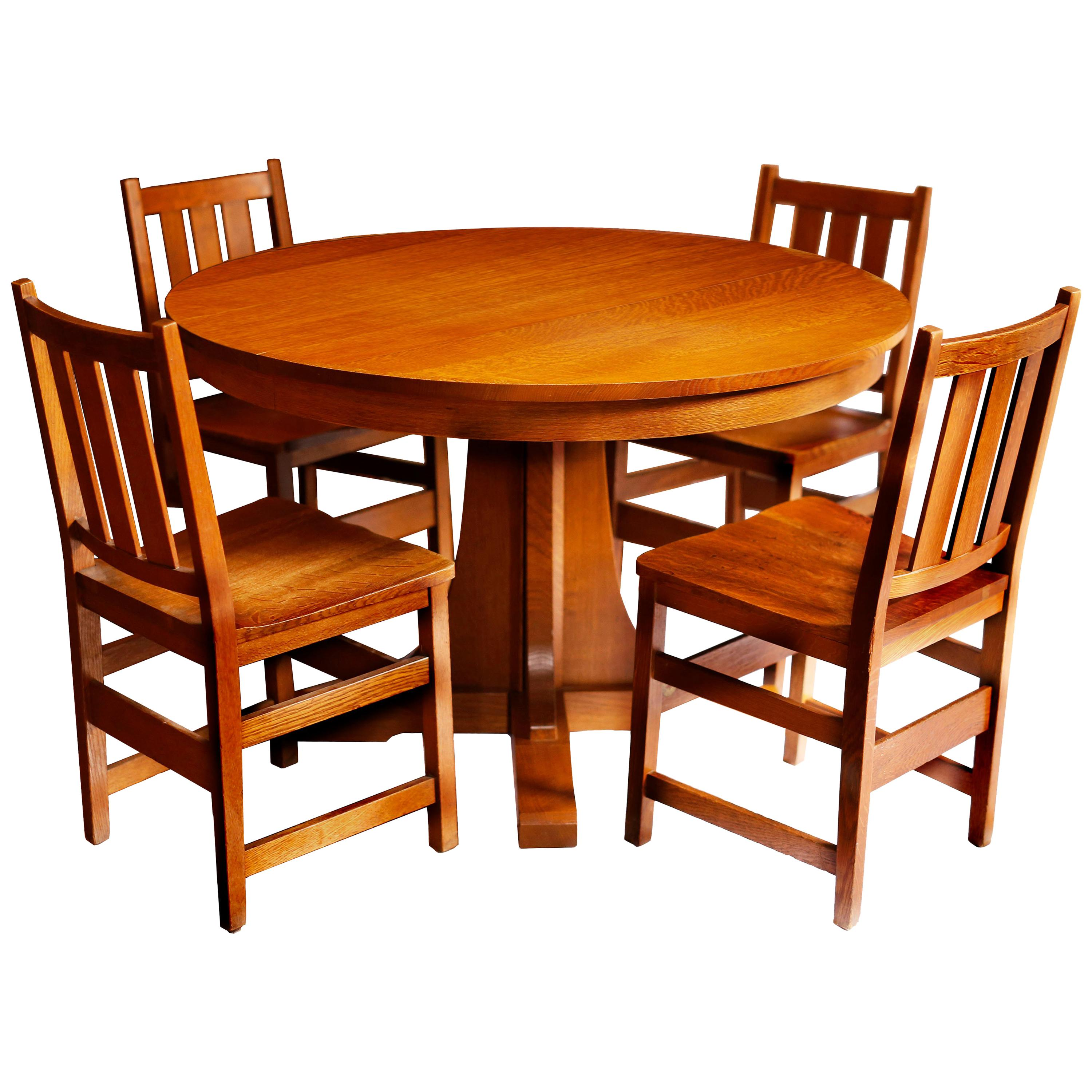 Andy Warholu0027s Six Stickley Dining Chairs From The Factory And Extending  Table For Sale