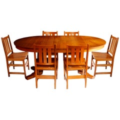 Andy Warhol's Six Stickley Dining Chairs from the Factory and Extending Table