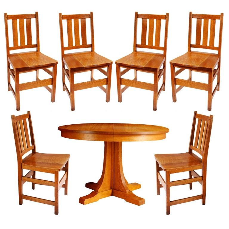 Andy Warhol S Six Stickley Dining Chairs From The Factory And Extending Table For