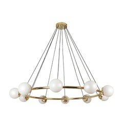 Anello Pendant, Midcentury Style Brass Pendant with Opal Glass Shades
