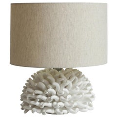 Anemone Table Lamp in White by Riccio Caprese, Made in Italy