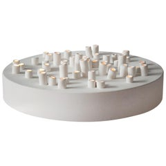 """""""Anemone"""" Table Lamp or Wall Lights, Ceramics with Matte White Enamel"""