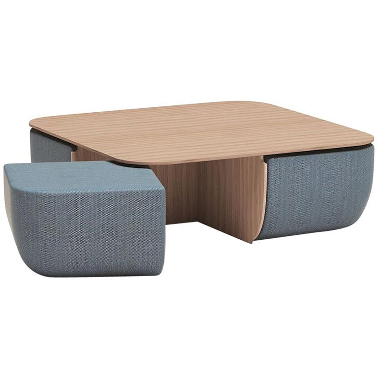 Coffee Table With Stools.Anemos Low Dining Table Or Coffee Table And Four Nesting Stools In Fabric