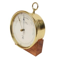 Aneroid Barometer of Brass and Glass English Manufacture of the 1920s