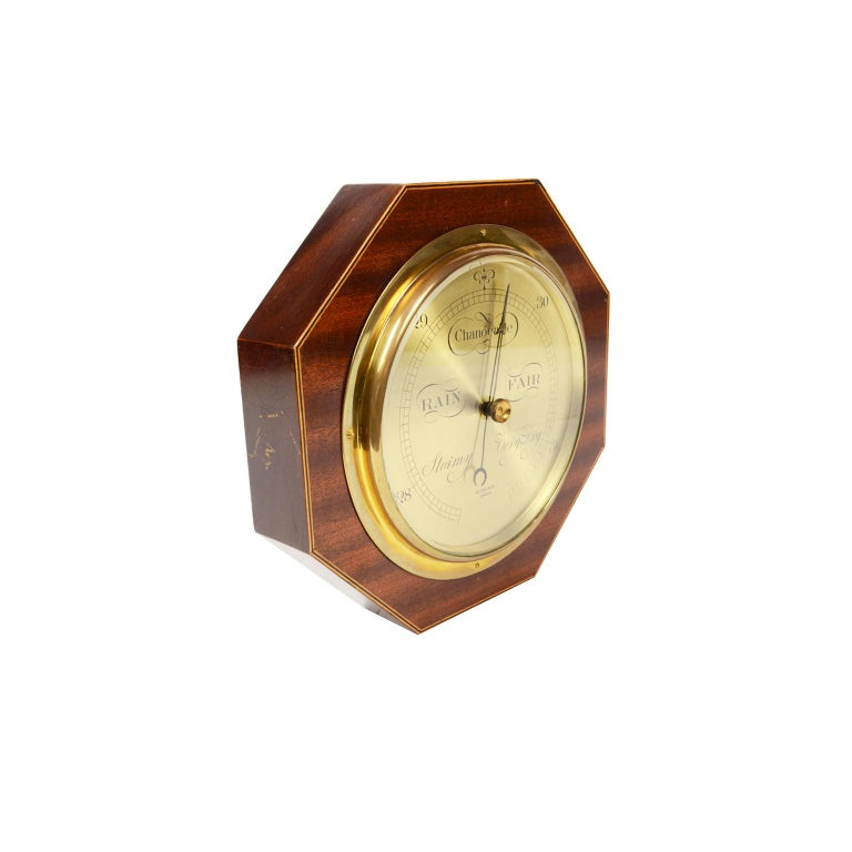 British Aneroid Octagonal Barometer Signed Aitchison, London, 1920s For Sale