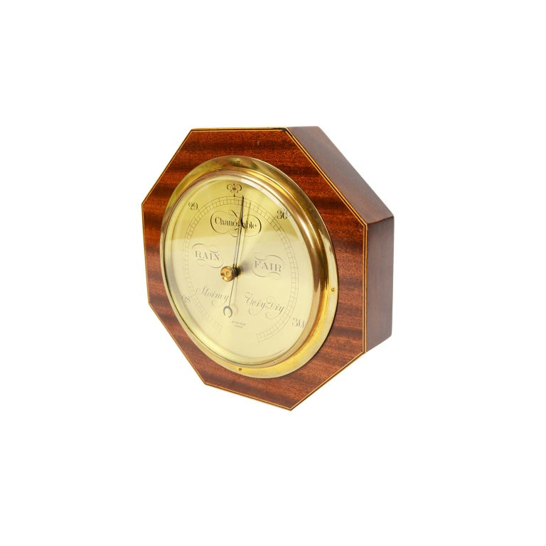 20th Century Aneroid Octagonal Barometer Signed Aitchison, London, 1920s For Sale