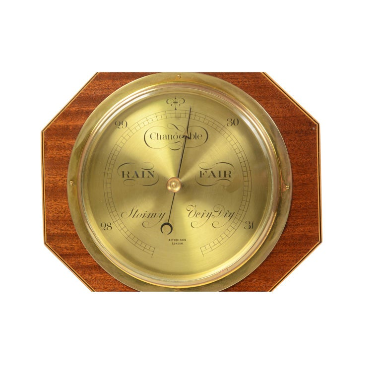 Aneroid Octagonal Barometer Signed Aitchison, London, 1920s For Sale 1