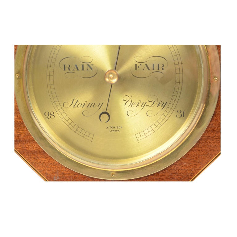 Aneroid Octagonal Barometer Signed Aitchison, London, 1920s For Sale 2