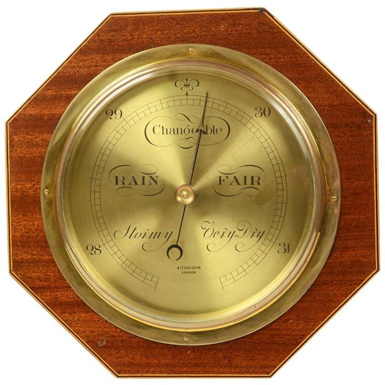 Aneroid Octagonal Barometer Signed Aitchison, London, 1920s For Sale