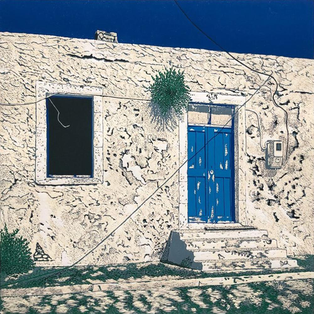 Greek Cottage -  Handmade Linocut,  Limited Edition 6/11