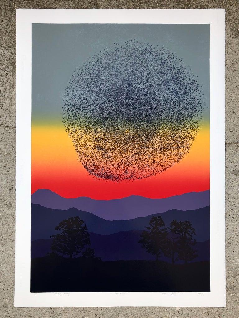 Murmurations -  Handmade Linocut,  Limited Edition Print Unique 5/5 - Black Abstract Print by Aneta Szoltis-Mencina