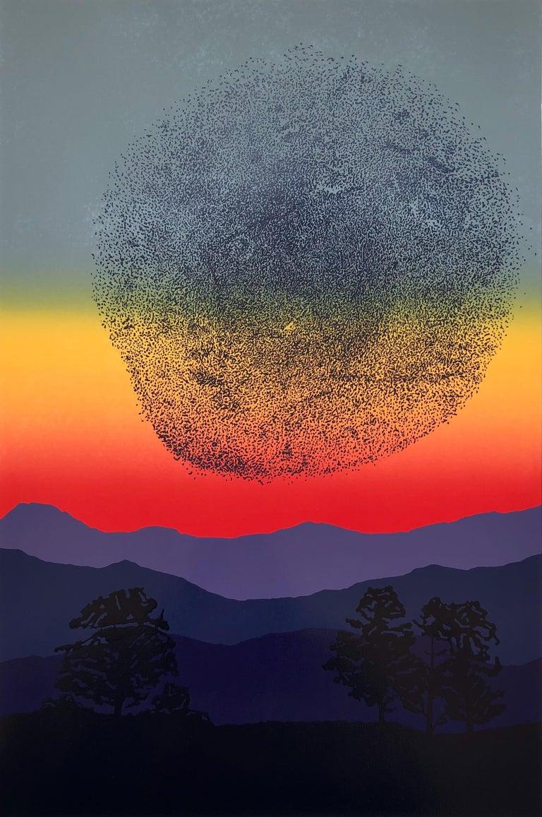 Aneta Szoltis-Mencina Abstract Print - Murmurations -  Handmade Linocut,  Limited Edition Print Unique 5/5