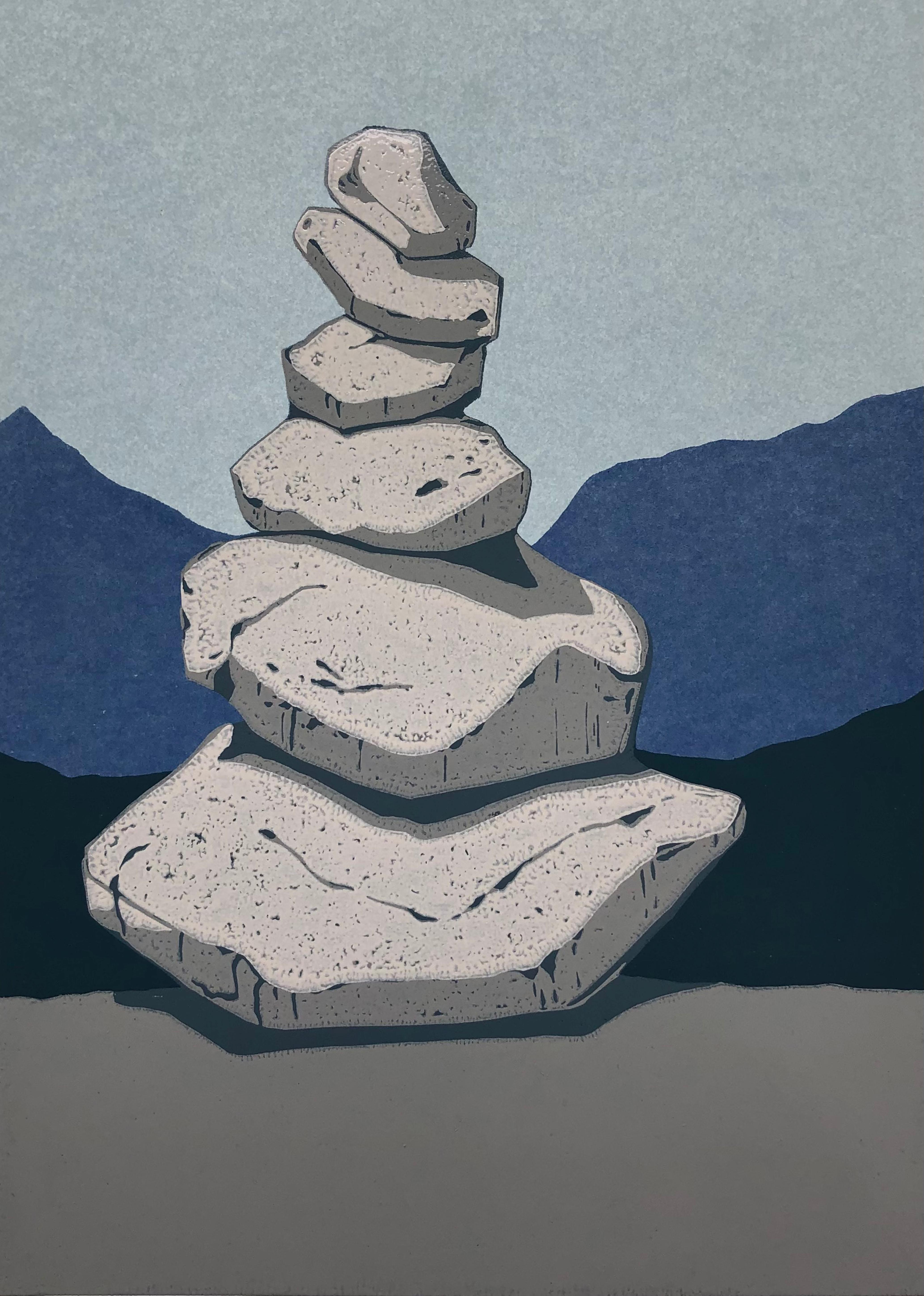 Stone Cairn 1  -  Handmade Linocut,  Limited Edition 3/7
