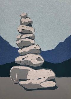 Stone Cairn  2 -  Handmade Linocut,  Limited Edition 4/8