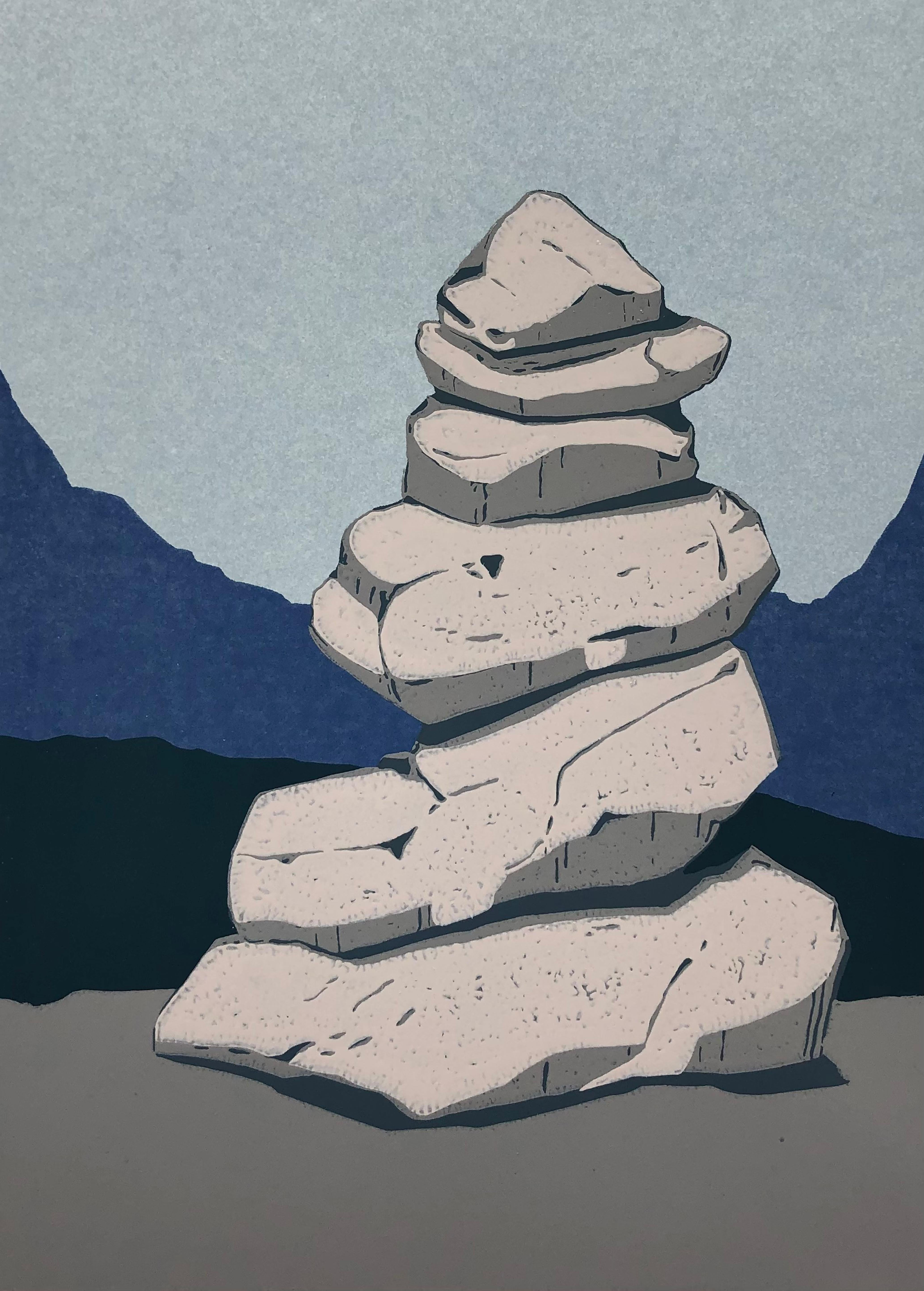 Stone Cairn  3 -  Handmade Linocut,  Limited Edition 4/7