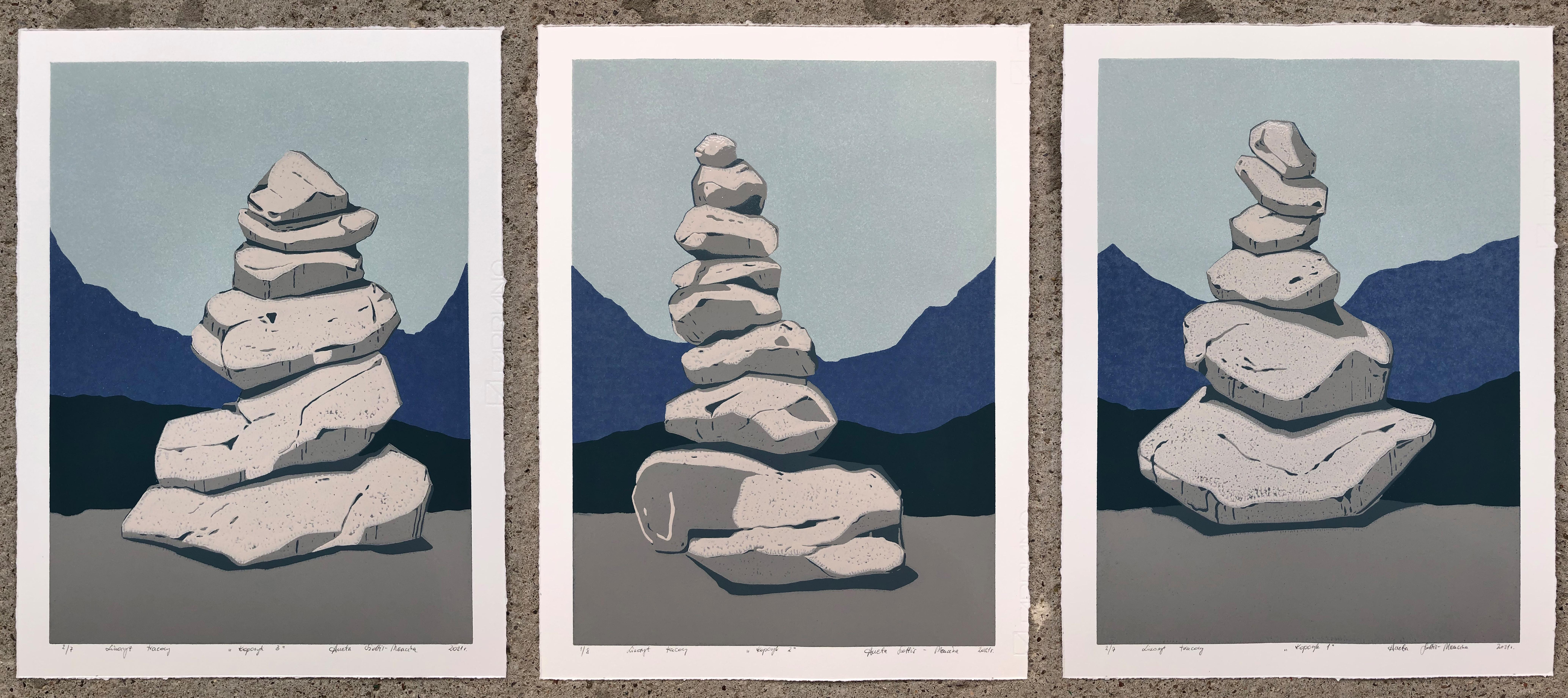 Stone Cairn Triptych  - Handmade Reduction Linocut,  Limited Edition of 8 Pieces