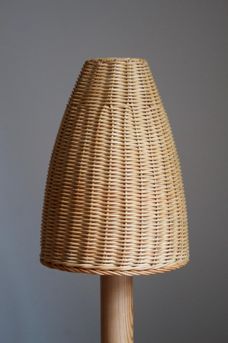 Modern Aneta, Table Lamp, Solid Pine, Rattan, Sweden, 1970s For Sale