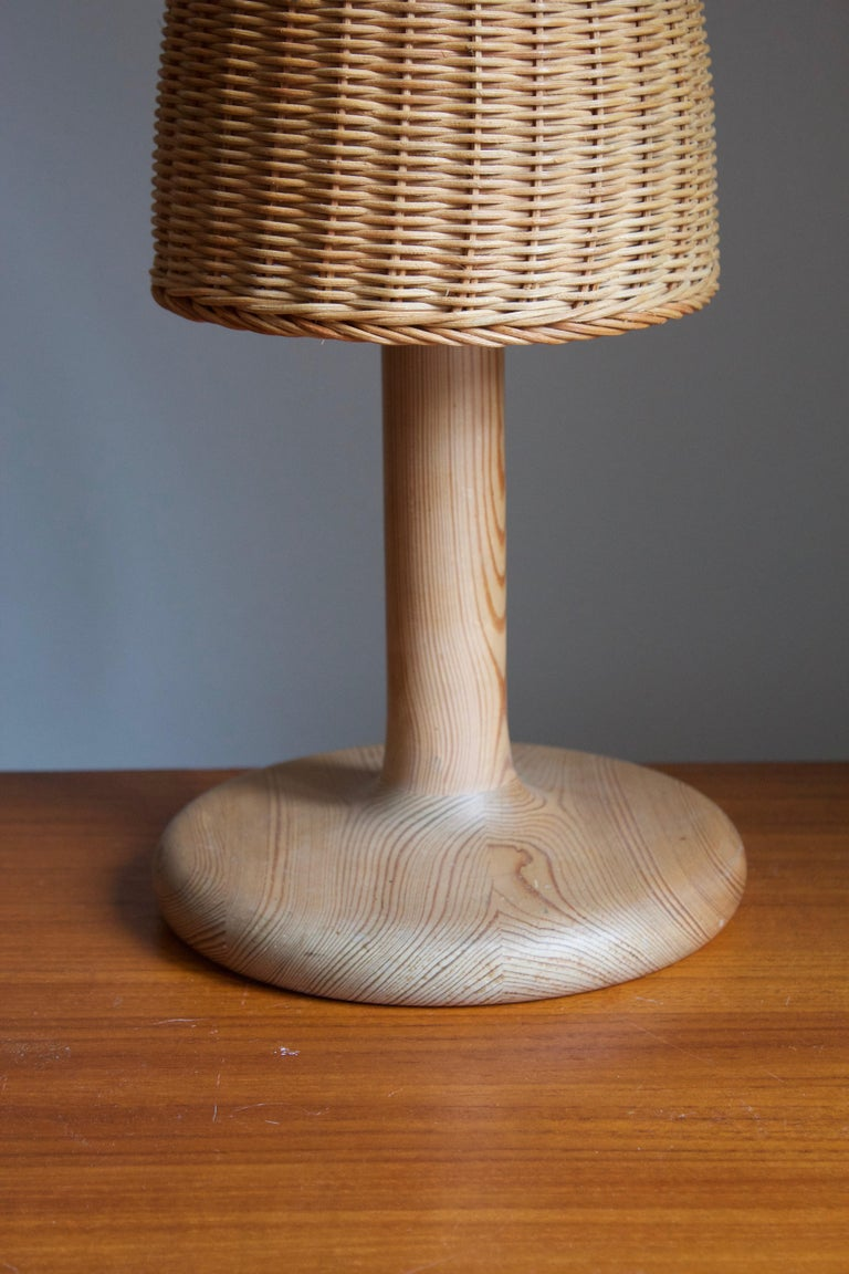 Swedish Aneta, Table Lamp, Solid Pine, Rattan, Sweden, 1970s For Sale