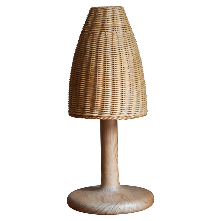 Aneta, Table Lamp, Solid Pine, Rattan, Sweden, 1970s For Sale
