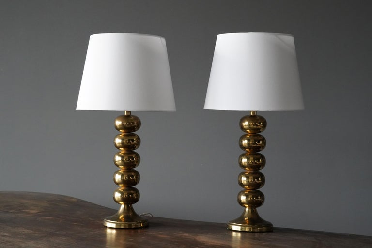 A pair of table lamps, designed and produced by Aneta, Sweden, 1970s.   Other designers of the period include Hans Agne Jakobsson, Paavo Tynell, Josef Frank, Lisa Johansson-Pape, and Hans Wegner.