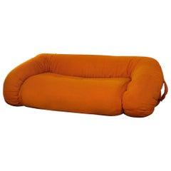 """Anfibio"" Orange Sofa by Alessandro Becchi, 1970s"